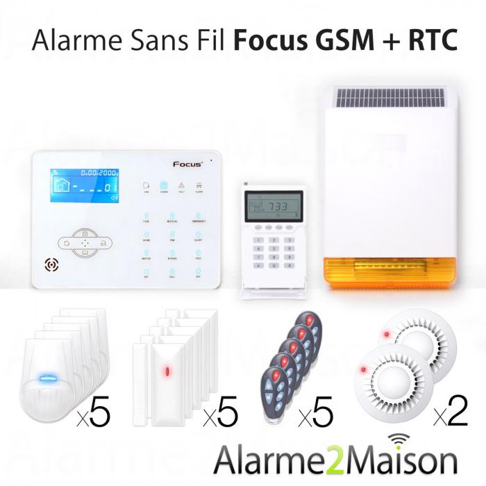 Alarme Maison sans fil Focus GSM + RTC - 7 Pièces et +