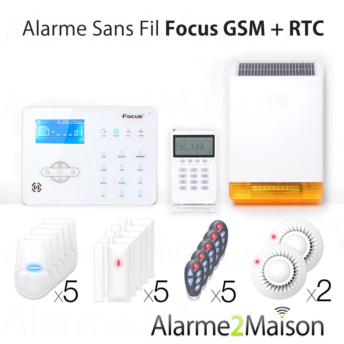 Alarme maison sans fil gsm rtc focus 7 pi ces et plus for Alarme maison sans fils