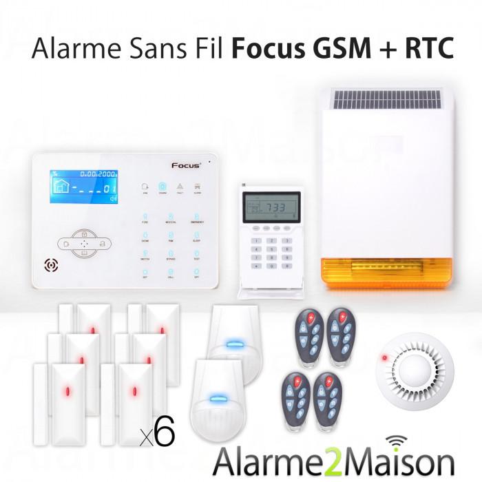 Alarme Maison sans fil Focus GSM + RTC 5 - 6 Pièces - Incendie