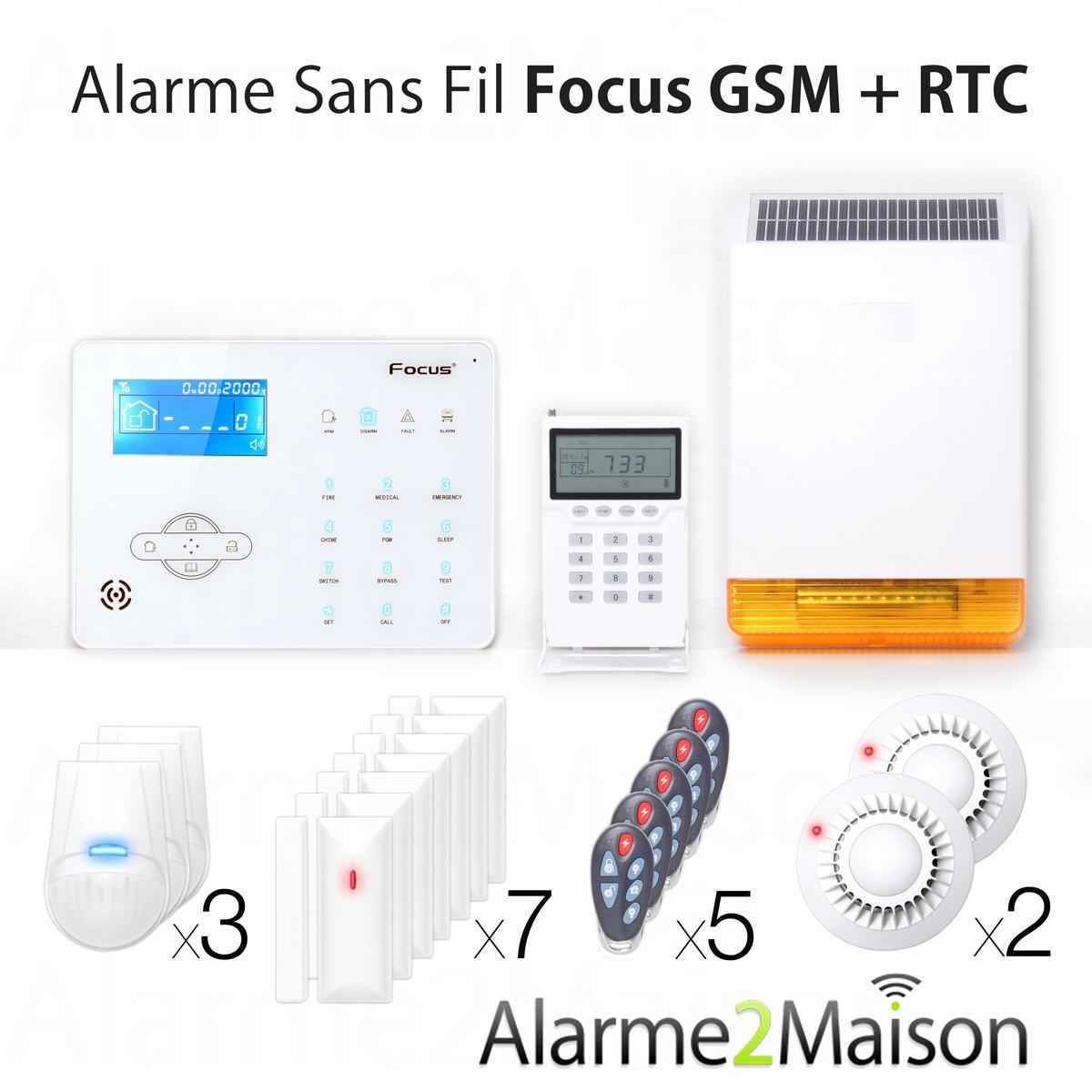 Alarme maison sans fil focus gsm rtc 7 pi ces et for Alarme maison sans fil avis