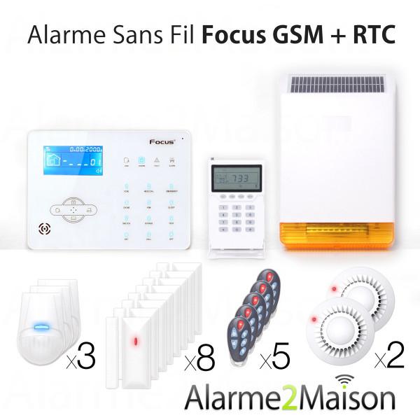 Alarme Maison sans fil Focus GSM + RTC - 8 Pièces et + Incendie