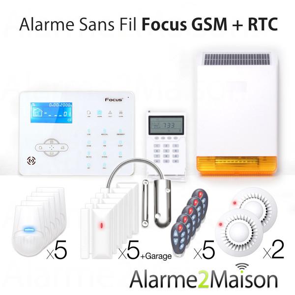 Alarme Maison sans fil Focus GSM et RTC + de 7 pièces + Garage Anti Incendie