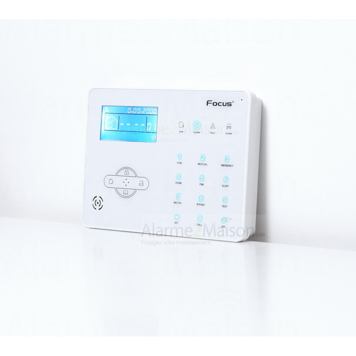 alarme maison sans fil focus gsm rtc 5 6 pi ces avec 2. Black Bedroom Furniture Sets. Home Design Ideas