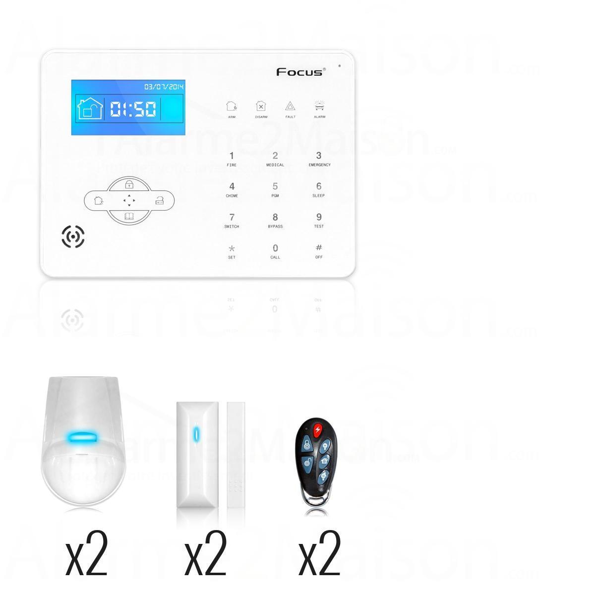 alarme maison sans fil gsm pour maison 2 3 pi ces. Black Bedroom Furniture Sets. Home Design Ideas
