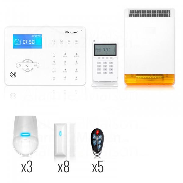 Alarme Maison sans fil Focus GSM + RTC - 8 Pièces et +