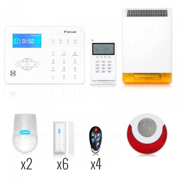 Alarme Maison sans fil Focus GSM + RTC 5 - 6 Pièces avec 2 sirènes sans fil