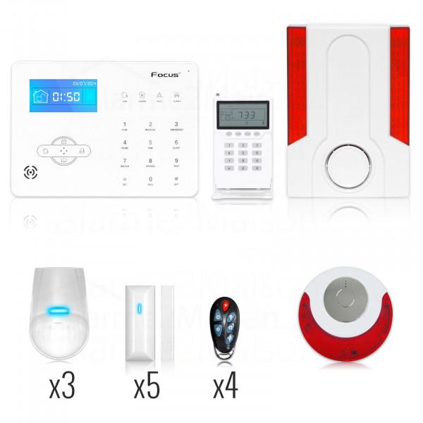Alarme Maison Focus GSM + RTC - 5 à 6 Pièces + Sirène Intérieure & Extérieure