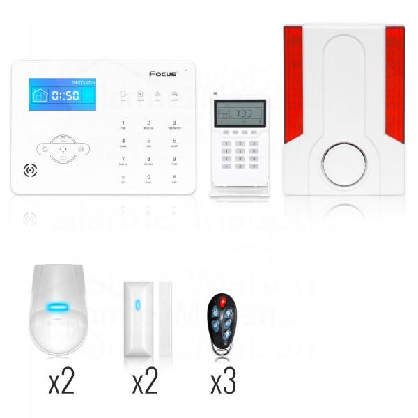 Alarme Maison Sans Fil Focus GSM + RTC - 3 à 4 Pièces