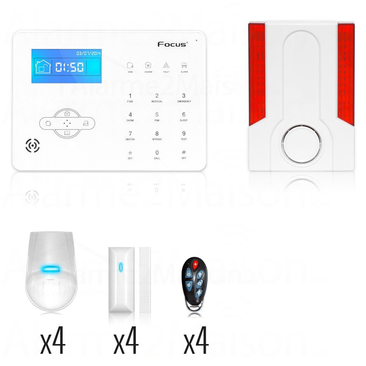 Pack alarme maison avec sir ne d port e 4 5 pi ces for Alarme maison avec telesurveillance