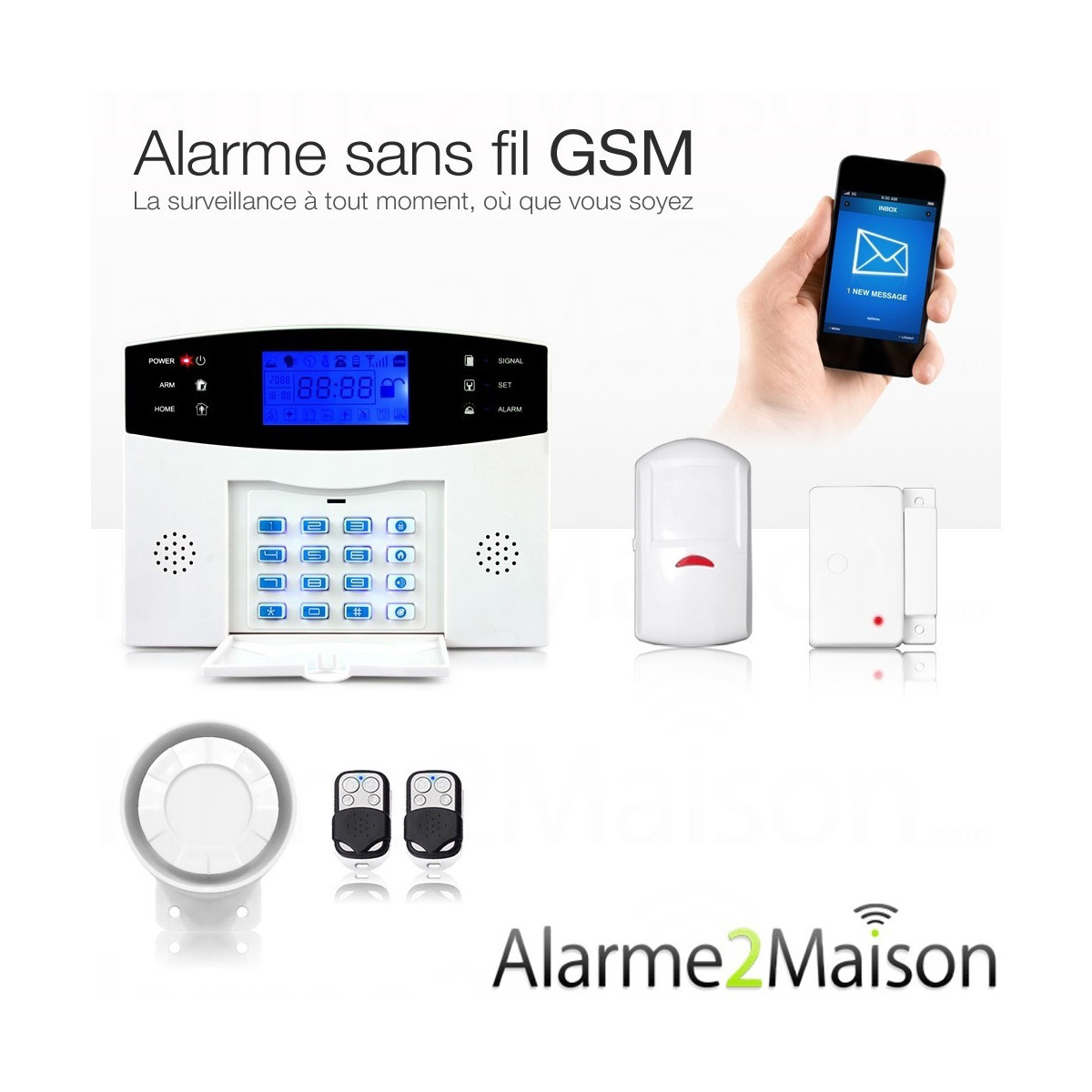 Alarme maison sans fil gsm 1 2 pi ces www for Alarme maison sans fil avis