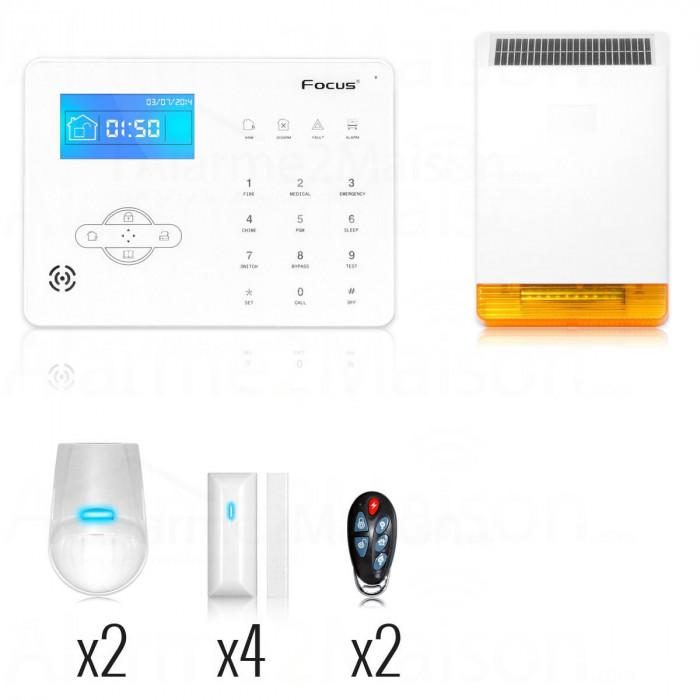 Pack Alarme GSM pour Maison de 3 à 4 Pièces avec sirène déportée Solaire FOCUS