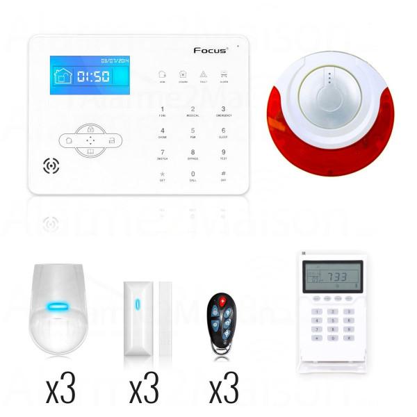 Alarme FOCUS sans fil pour maison 3 à 4 Pièces + sirène intérieure déportée