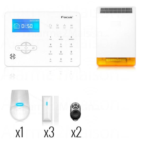 Alarme sans fil FOCUS téléphonique GSM - 3 à 4 pièces avec sirène 110dB