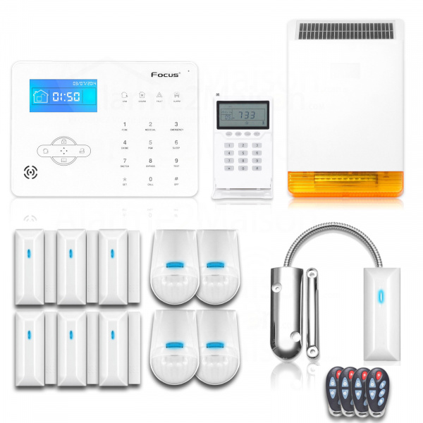 Alarme Maison Sans fil Focus GSM et RTC + de 7 pièces + Garage